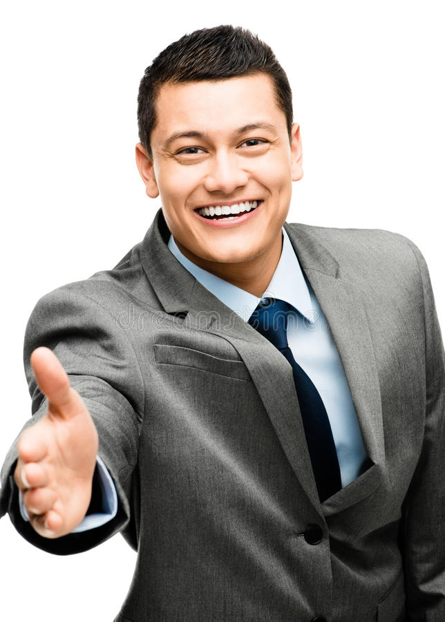 Aziatische gelukkige zakenmanhanddruk royalty-vrije stock afbeelding