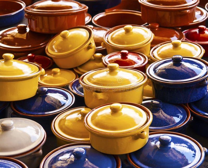 Aziatische het drinken potten royalty-vrije stock fotografie