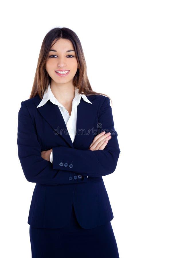 Aziatische Indische bedrijfsvrouw die met blauw kostuum glimlacht stock afbeelding