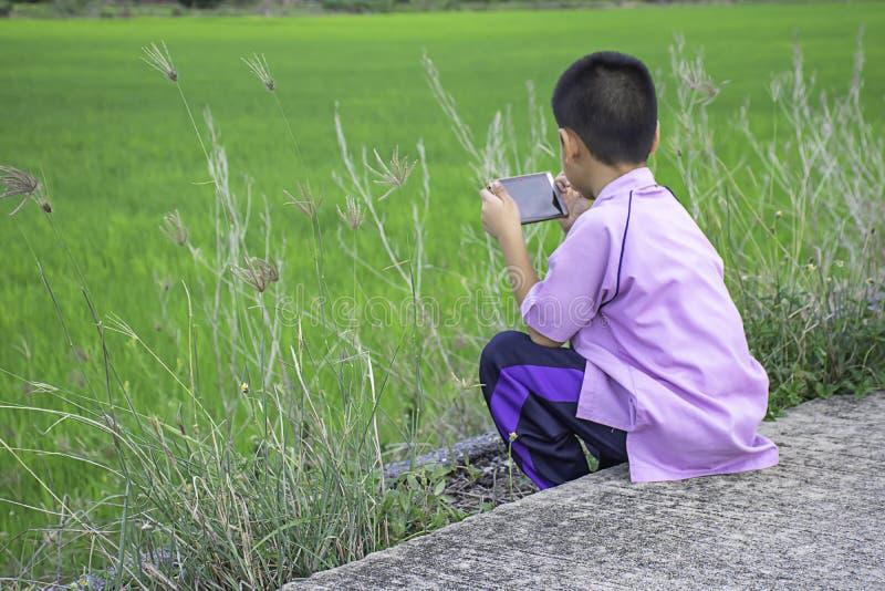 Aziatische jongen die een telefoon houden en op de straatachtergrond de groene padievelden zitten stock foto's