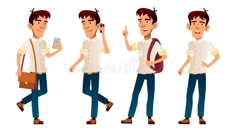 Aziatische Jongensvector Middelbare schoolkind Wit overhemd tribune Telefoon, Rugzak tiener Voor Web, Affiche, Boekjesontwerp royalty-vrije illustratie