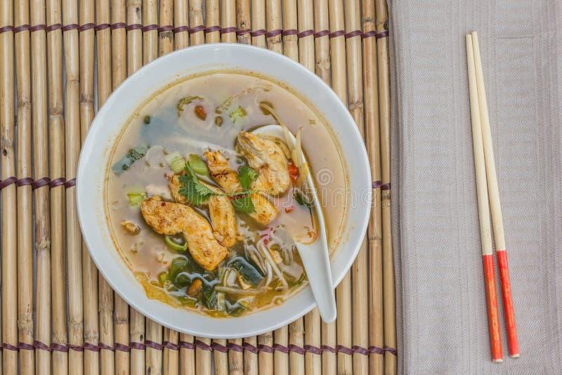 Aziatische kippensoep met groenten royalty-vrije stock afbeelding