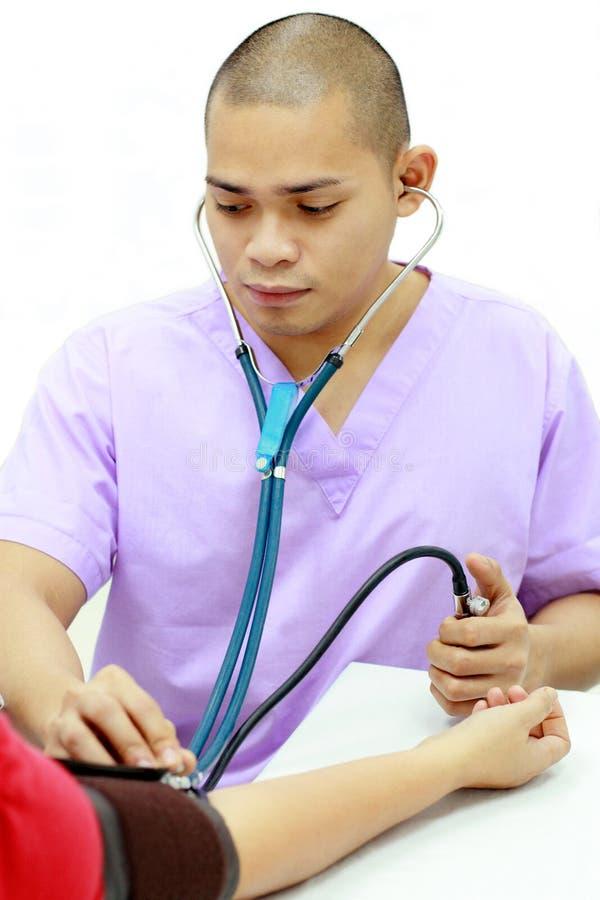 Aziatische mannelijke gezondheidsarbeider royalty-vrije stock foto's