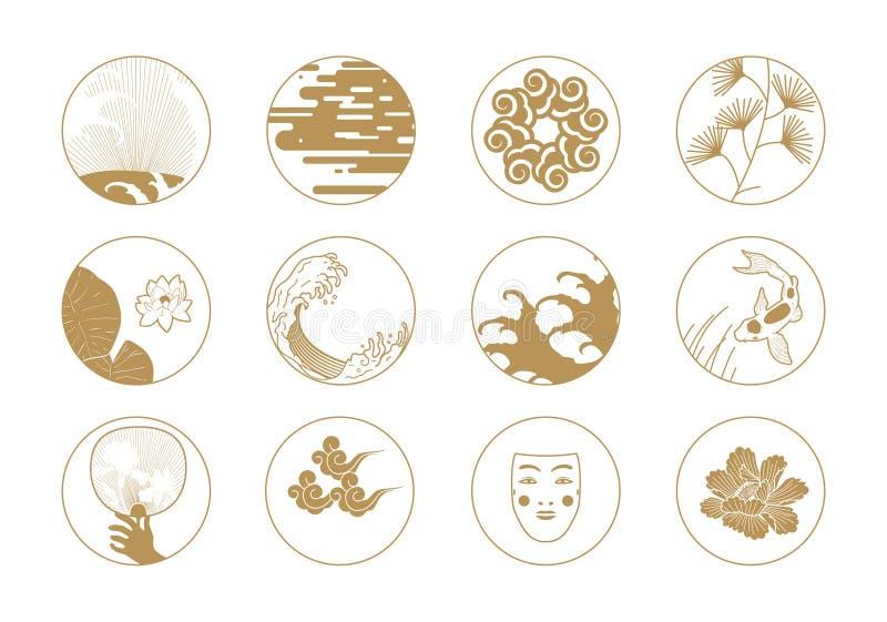 Aziatische ontwerpelementen stock illustratie