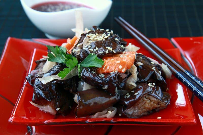 Aziatische plantaardige auberginesalade royalty-vrije stock afbeeldingen