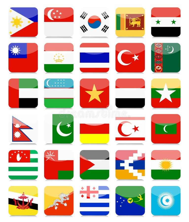 Aziatische Reeks 2 van het Vlaggen Vlakke Vierkante Pictogram stock illustratie