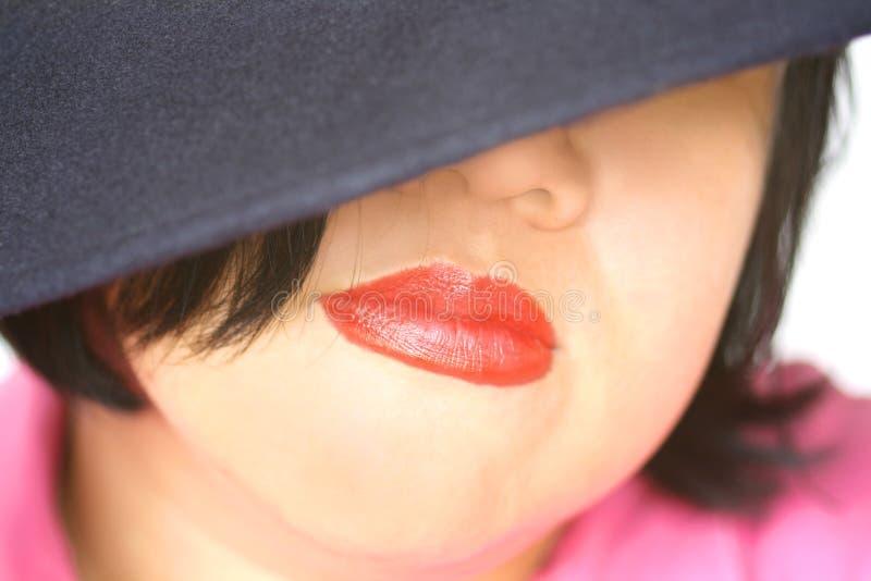 Aziatische rode lippen royalty-vrije stock foto's