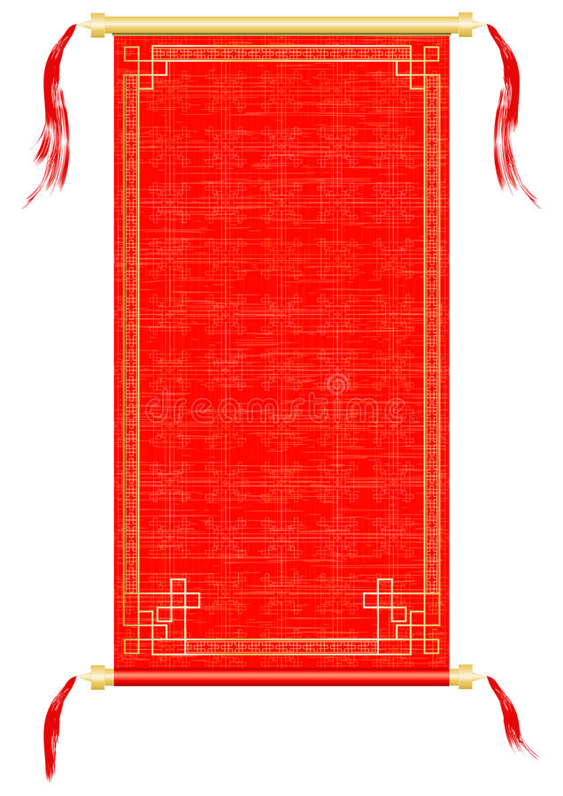 Aziatische rol, rode en gouden ornamenten stock illustratie