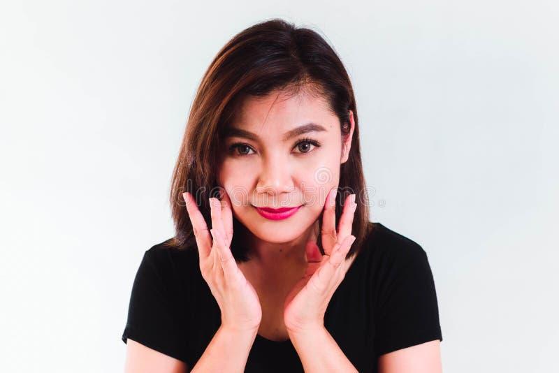 Aziatische Schoonheidsvrouw op Witte Achtergrond stock foto