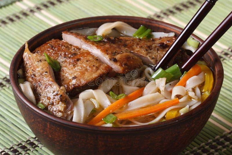 Aziatische soep met eend en rijst horizontaal noedelclose-up royalty-vrije stock afbeeldingen