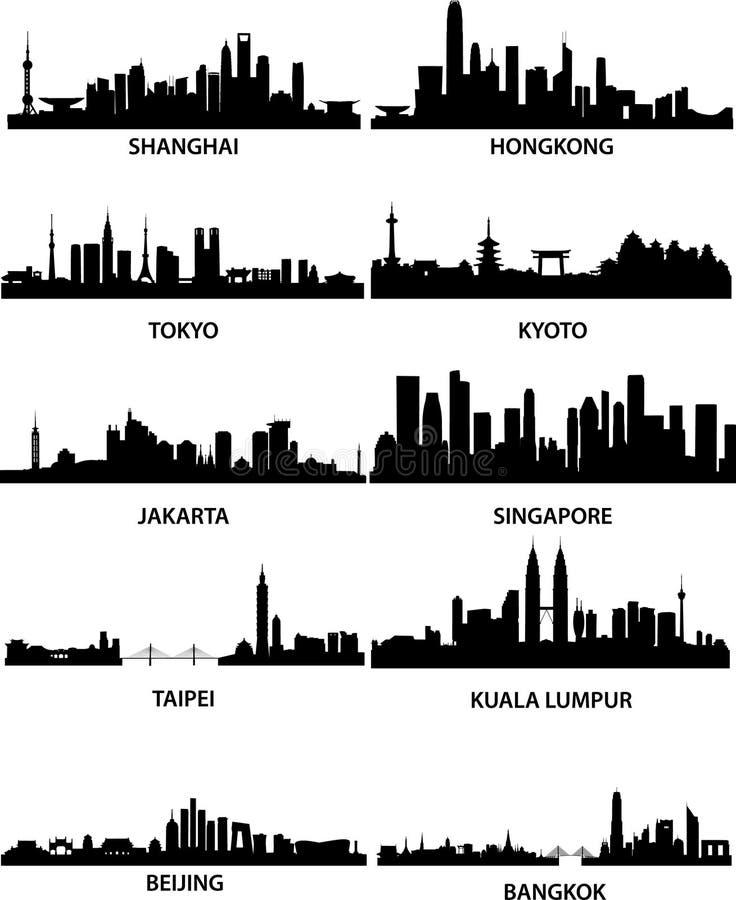 Aziatische stedenhorizonnen stock illustratie