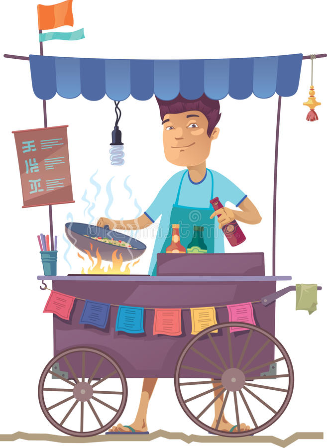 Aziatische straatkeuken stock illustratie