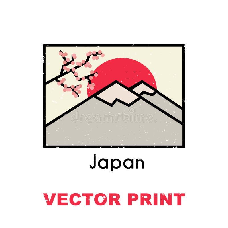 Aziatische t-shirtdruk Kan ook voor een prentbriefkaar, mok, affiche, magneet of een ander kleding en ontwerp van herinneringspro royalty-vrije illustratie