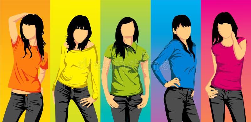 Aziatische tienermeisjes vector illustratie
