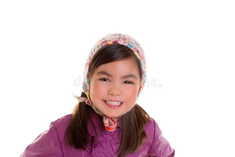 Aziatische van de het meisjeswinter van het kindjonge geitje het portret purpere laag en wol GLB stock fotografie