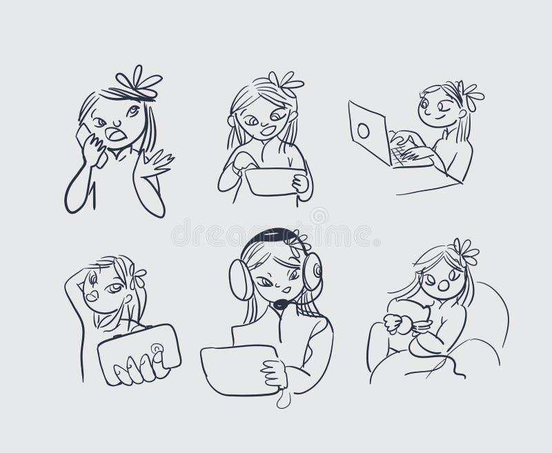 Aziatische vector de illustratiekrabbel van meisjestechnologieën vector illustratie
