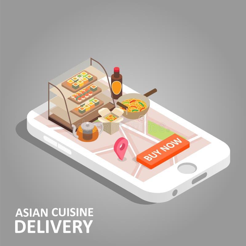 Aziatische voedsel online vector isometrische illustratie royalty-vrije illustratie