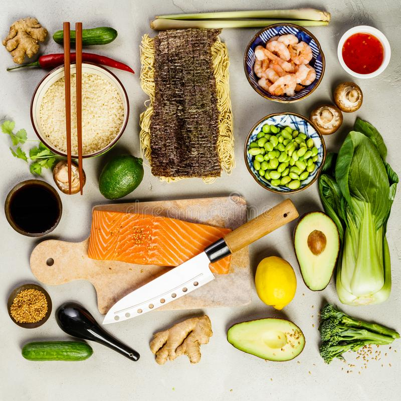 Aziatische voedselachtergrond royalty-vrije stock fotografie