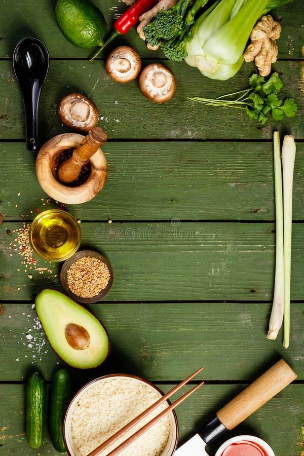 Aziatische voedselachtergrond royalty-vrije stock afbeeldingen