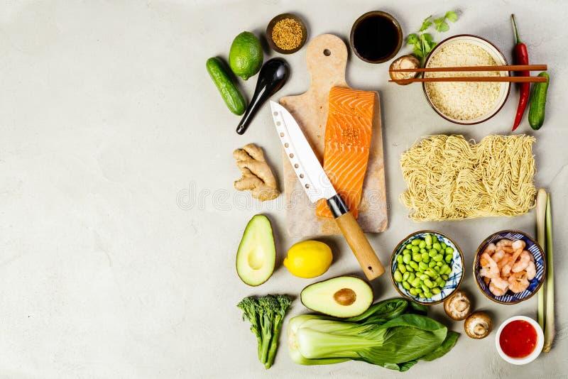 Aziatische voedselachtergrond stock fotografie