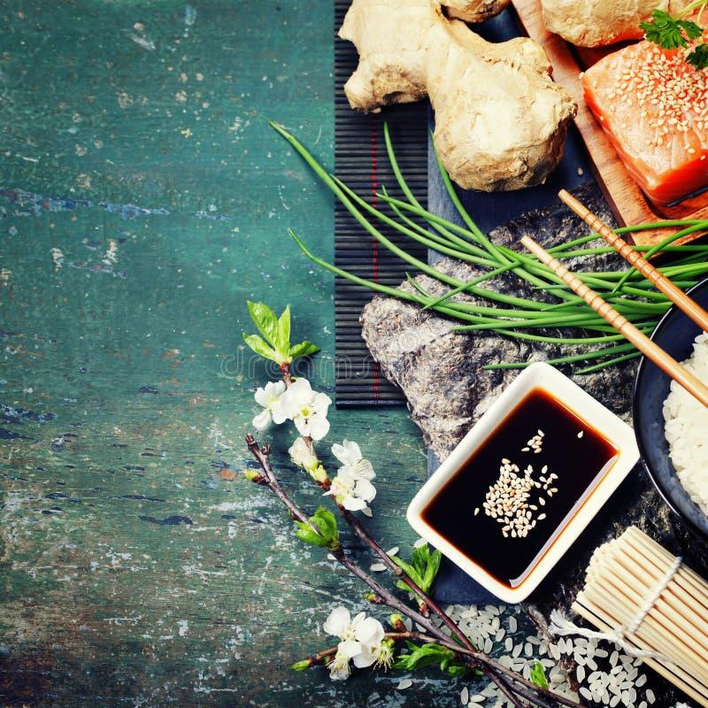 Aziatische voedselachtergrond royalty-vrije stock foto