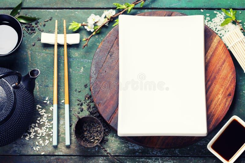 Aziatische voedselachtergrond stock afbeeldingen