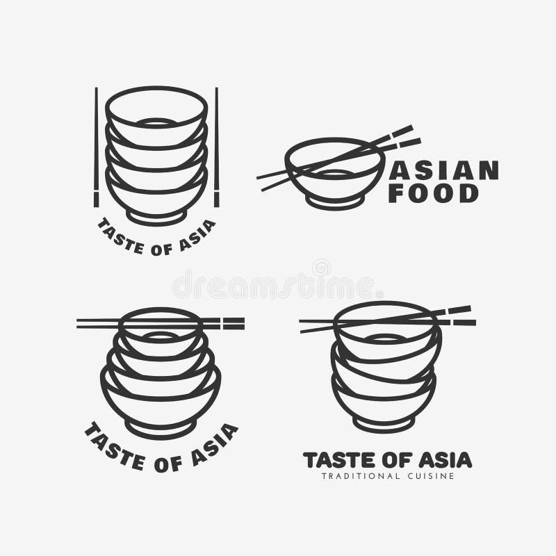 Aziatische voedselemblemen vector illustratie