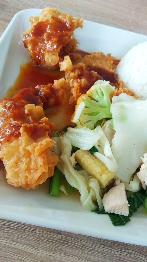 Aziatische Voedselkip met Groente royalty-vrije stock foto's