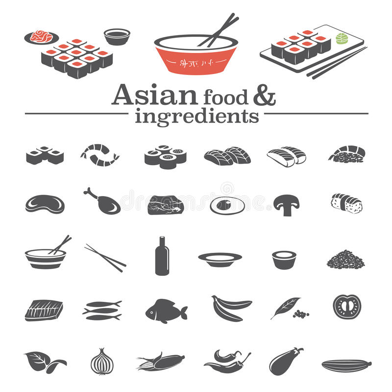 Aziatische voedselpictogrammen & ingrediënten royalty-vrije illustratie