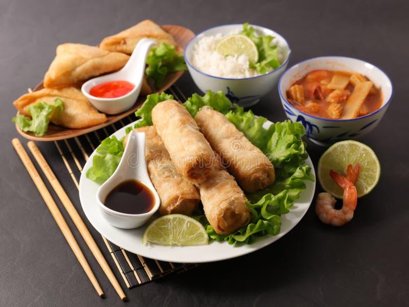 Aziatische voedselselectie stock foto's