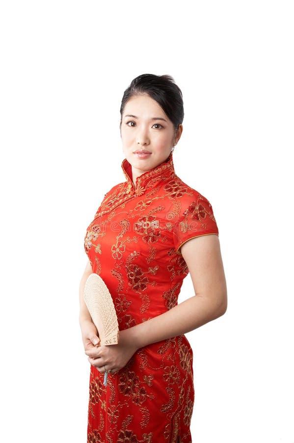 Aziatische vrouw in cheong SAM royalty-vrije stock foto
