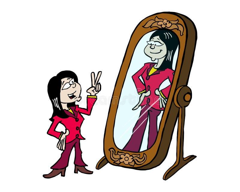 Aziatische vrouw die zich in de spiegel bekijken vector illustratie