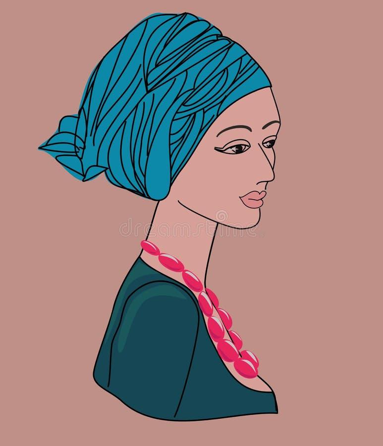 Download Aziatische Vrouw In Een Tulband Vector Illustratie - Illustratie bestaande uit grafisch, blauw: 39105976