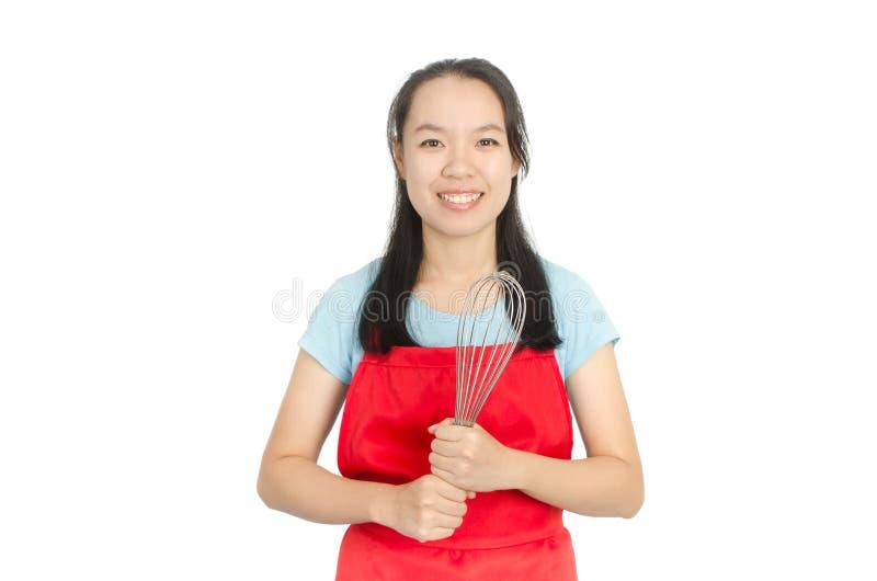 Aziatische vrouw klaar aan het koken stock fotografie