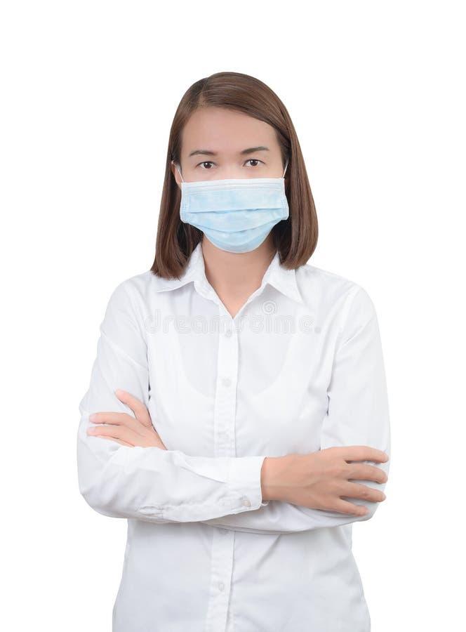 Aziatische vrouw met beschermende maskers stock foto's