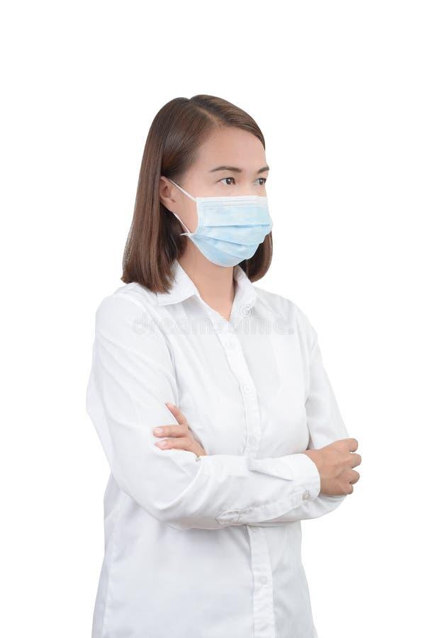 Aziatische vrouw met beschermende maskers royalty-vrije stock afbeeldingen