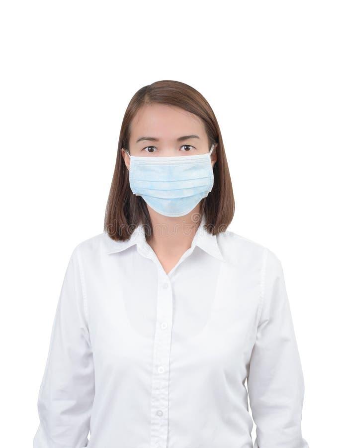 Aziatische vrouw met beschermende maskers stock foto