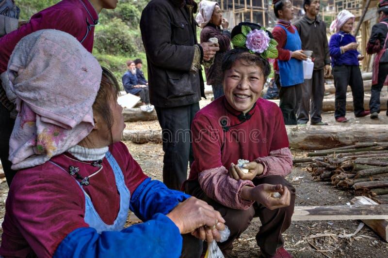 Aziatische vrouw met roze kapselglimlachen op landelijke vakantie, China stock foto's