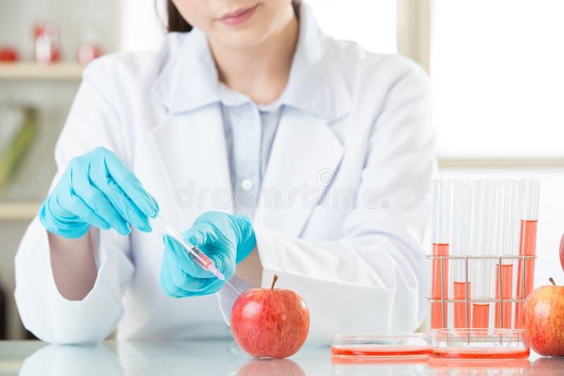 Aziatische vrouwelijke wetenschapper die aan installatiebiologie werken stock foto