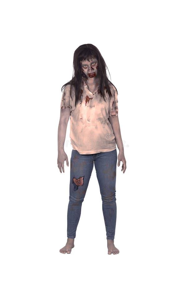 Aziatische vrouwelijke zombie royalty-vrije stock afbeelding
