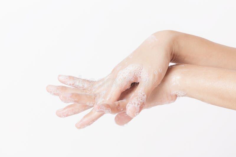 Aziatische vrouwen schoonmakende Hand, wassende handen met de vinger van de zeepbescherming en handen van virus royalty-vrije stock foto