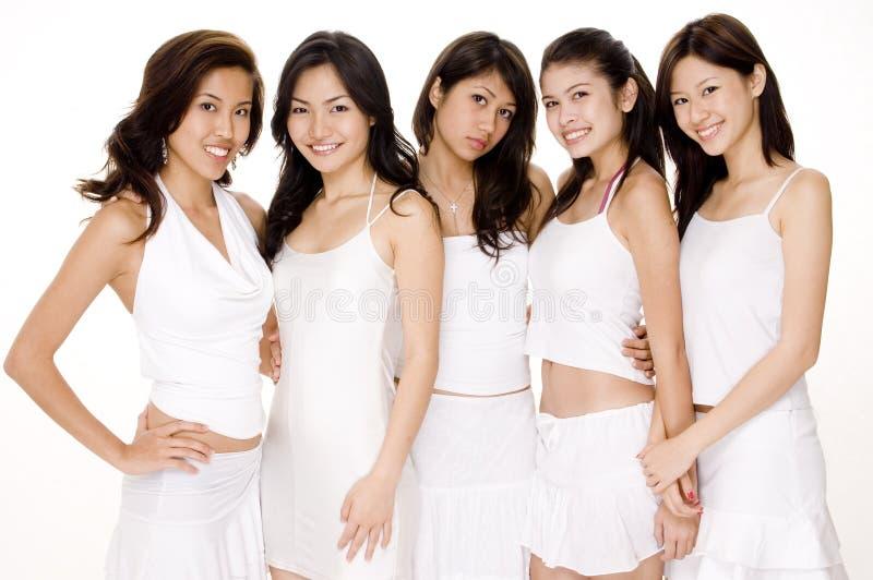 Aziatische Vrouwen in Witte #2 stock foto