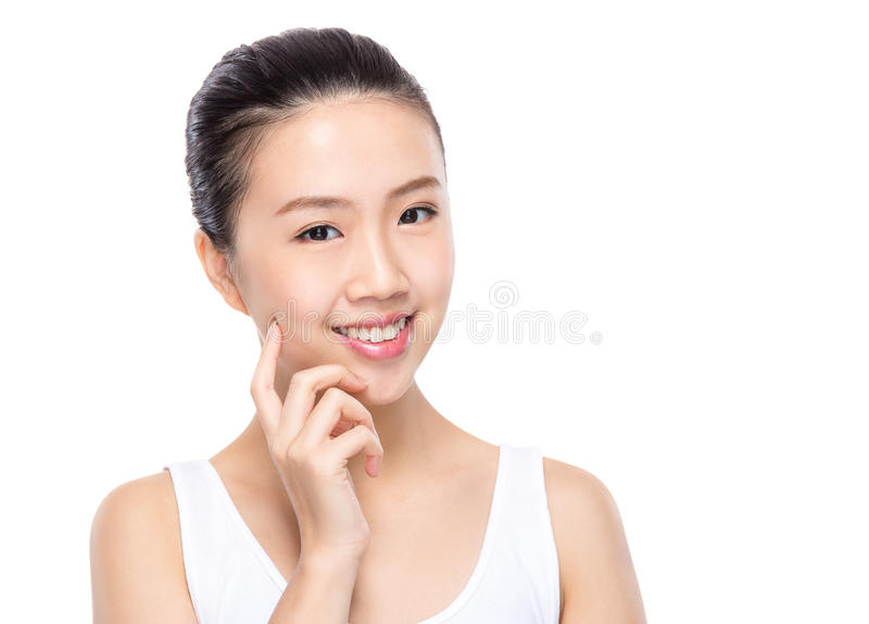 Aziatische vrouwenaanraking op huid stock afbeelding