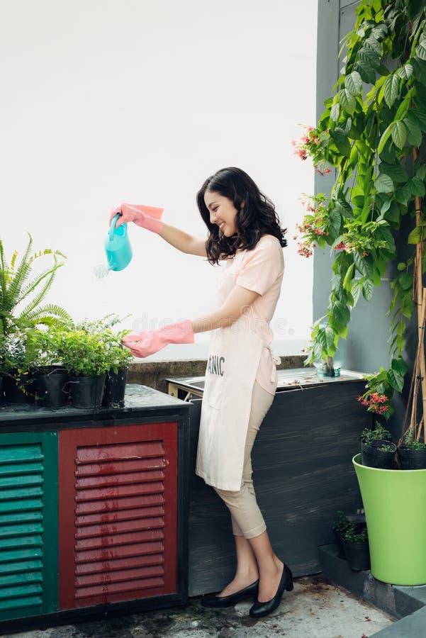 Aziatische vrouwentuinman die de bloemen in haar tuin in summe water geven stock afbeelding