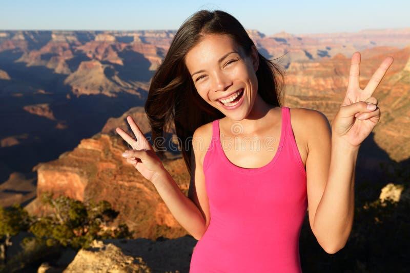 Aziatische wandelaar - het portret van de wandelingsvrouw, Grand Canyon royalty-vrije stock foto's