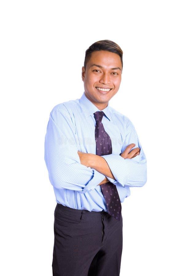 Aziatische zakenman in blauw overhemd stock foto's