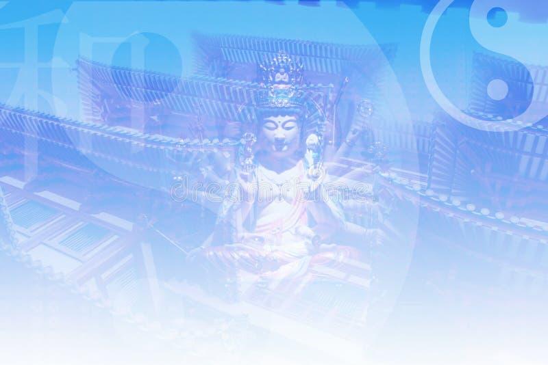 Aziatische Zen die de Abstracte Achtergrond van de Collage kalmeert stock illustratie