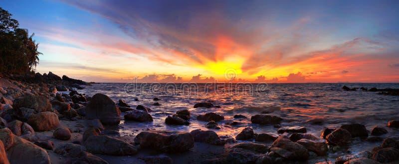 Aziatische zonsondergang royalty-vrije stock afbeeldingen