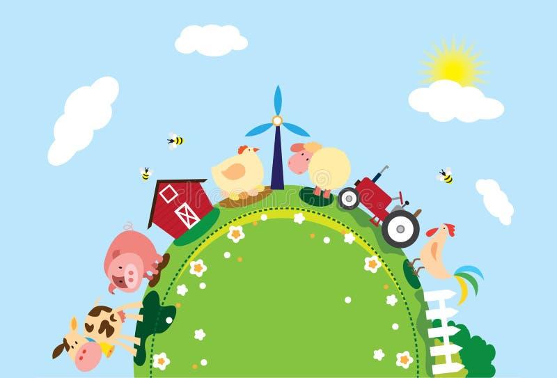 Azienda agricola animale sulla montagna illustrazione vettoriale