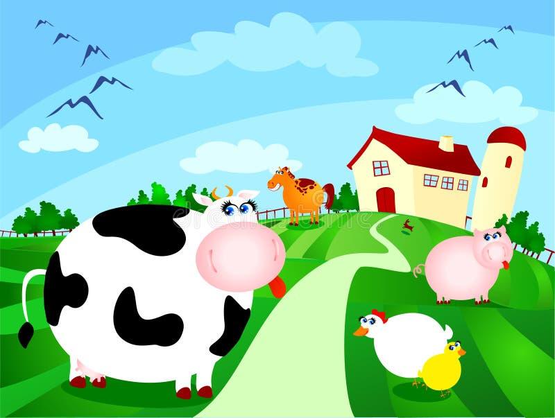 Azienda agricola con gli animali illustrazione vettoriale